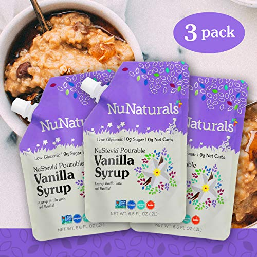 NuNaturals Vanilla Flavored Sugar-Free Pourable Syrup, 0 Net Carbs (Vanilla Syrup 3 Pack, 6.6 oz)