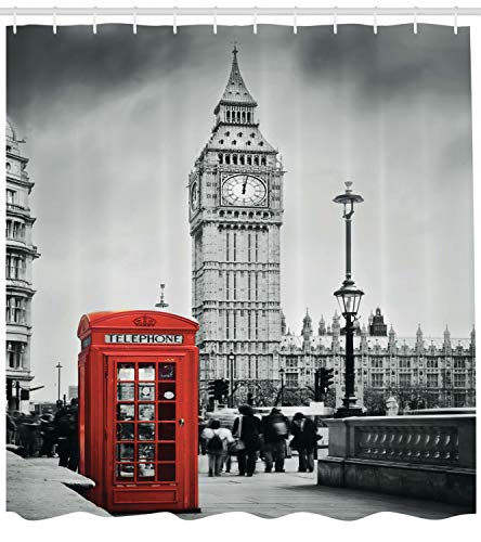 "Ambesonne London Shower Curtain, Famous Telephone Booth and The Big Ben in England Street View of Town Retro, Cloth Fabric Bathroom Decor Set with Hooks, 70"" Long, Red Grey"