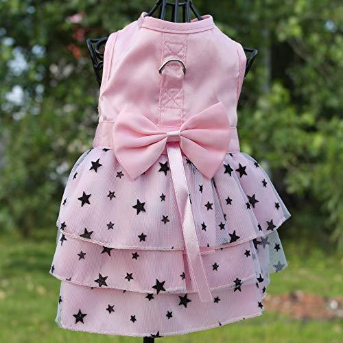 Xs Harness Dress - petalk Summer Dog Cat Dress D-Ring Pet Harness Dresses Starry Tulle Skirt Princess Pink (XS) ¡