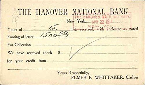 Amazon com: The Hanover National Bank Receipt New York, New York