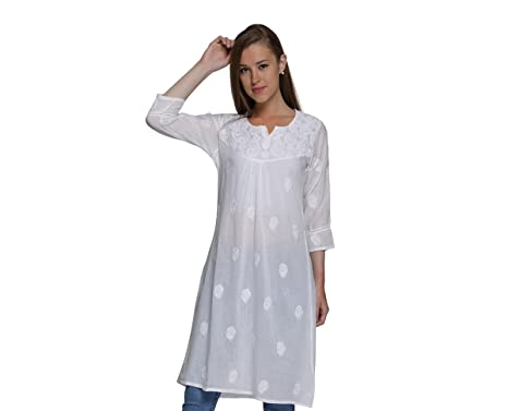 ba89227d3d7 Indiankala4U Ladies Tops Tunics Kurti Indian Chikan Hand Embroidered Blouse  For Women Dresses