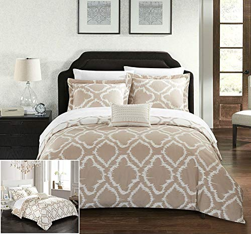 - Chic Home 4 Piece Juniper Reversible Two-Tone Ikat Diamond Geometric Pattern Print Technique Queen Duvet Cover Set Beige