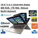"Newest High Performance Toshiba Satellite Truelife 15.6"" P55W FHD(1920x1080) Convertible 2-in-1 TouchScreen Laptop, Intel i7-6500U, 8GB RAM, 1TB HDD, Windows 10"