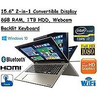 High Performance Toshiba Satellite Truelife 15.6 P55W FHD(1920x1080) Convertible 2-in-1 TouchScreen Laptop, Intel i7-6500U, 8GB RAM, 1TB HDD, Windows 10
