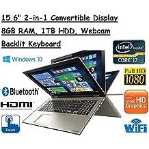 "High Performance Toshiba Satellite Truelife 15.6"" P55W FHD(1920x1080) Convertible 2-in-1 TouchScreen Laptop, Intel i7-6500U, 8GB RAM, 1TB HDD, Windows 10"
