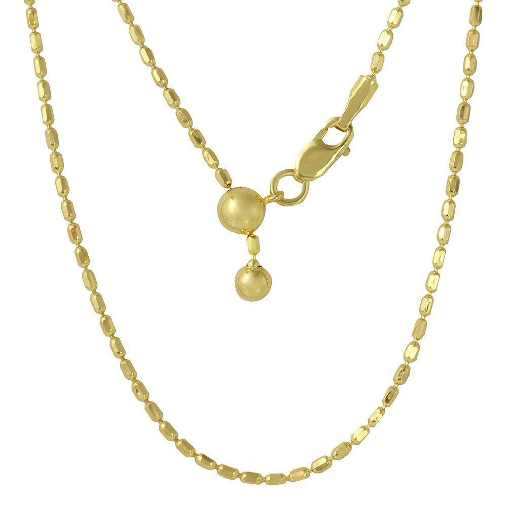 CloseoutWarehouse Yellow Gold-Tone Plated Sterling Silver Oval Bead Chain Necklace 14'' To 24'' Adjustable