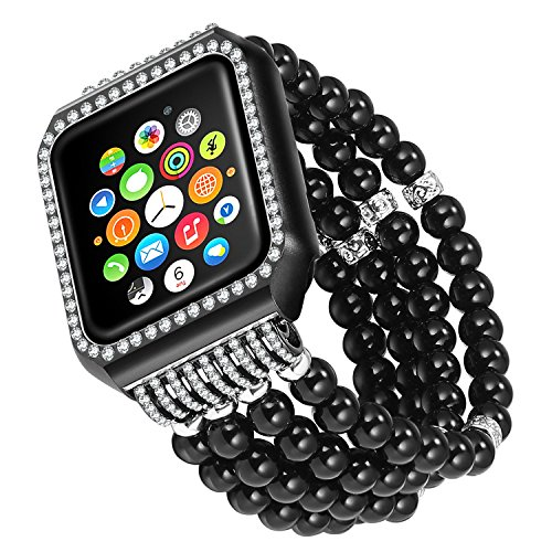 (Solomo Compatible for Apple Watch Band, Luxury Bling Diamonds Metal Case with Handmade Elastic Stretch Bracelet iWatch Strap Gilrs Women Rhinestone Wristband for Apple Watch Series 3/2/1 (38MM Black))