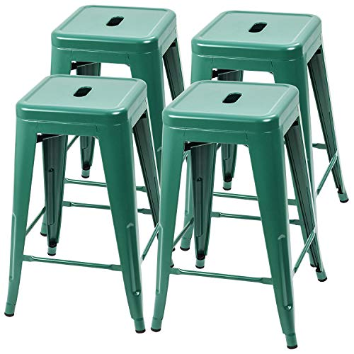 Furmax 24 Inches Metal Bar Stools High Backless Indoor-Outdoor Counter Height Stackable Stools Set of 4(Green)