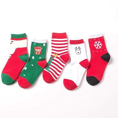 Scrox 5 Pars Calcetines de bebé Recién Nacido niña Lindo Media de Navidad Espesar Socks Deportivos