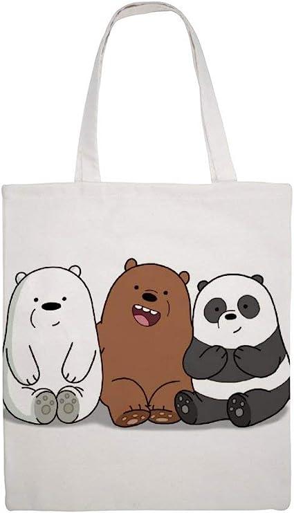 Baby Bear Cubs Grizz Ice Bear Shoulder Grocery Shopping Bags Cloth Shopping Bag Panda Cotton Canvas Tote Bag We Bare Bears Cartoon