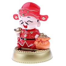 MonkeyJack Solar Powered Flip Flap Dancing Ornaments Bobble Head God of Wealth Toy Office Decoration Novelty Birthday Gift