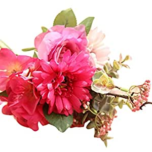 Fake Flowers,Napoo Artificial Rose Bouquet Floral Wedding Bouquets for Party Home Decor (Hot Pink)