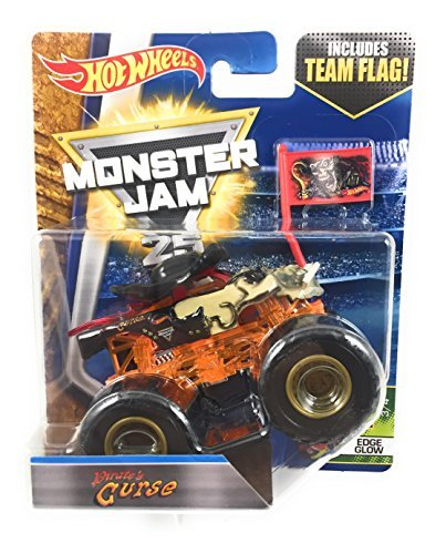 2017 Hot Wheels Monster Jam 1:64 Scale Truck with Team Flag - Orange Glow Pirate's Curse