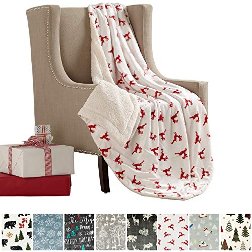 Great Bay Home Super Soft Fleece Sherpa Holiday Throw Blanket - Cozy, Warm Red Reindeer Design Blanket. Eve Collection (50 x 60)