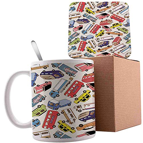 Transport and Logisticswith Lorry Cargo Truck Muscle Car and Taxi Boy Toys, Multicolor;Ceramic mug with Spoon & Coaster Creative Morning Milk Coffee Tea Porcelain 11oz gifts for family