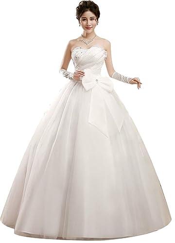 Eyekepper Beaded Strapless A-Line Ball Gown Wedding Dress Custom Size