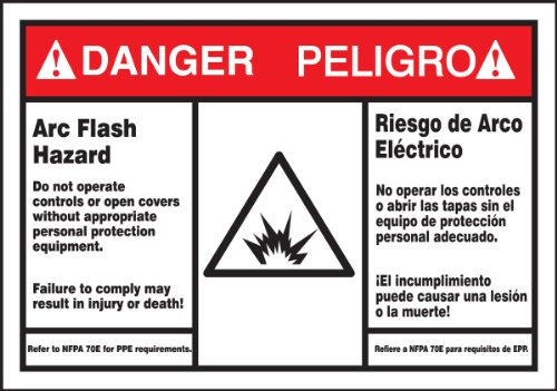 Bilingual Hazard Warning Labels (Accuform Signs SBLSPS149 Spanish Bilingual Safety Label, Legend