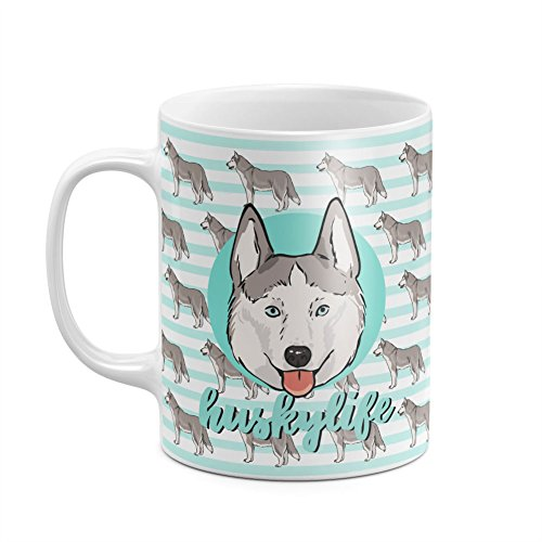 Cute Mint Husky Life Pattern Minimal Mint Lines Pattern Happy Dog Lover Animal Pattern White Heat Resistant Ceramic Tea Coffee Mug - 11oz (Akita Coffee Mug)