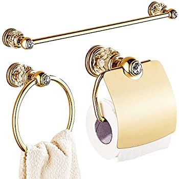 This Item AUSWIND Gold White Crystal U0026Brass Bathroom Accessories Sets Wall  Mounted 3 Pieces Gold Polished Bathroom Accessories Set
