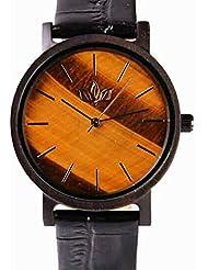 Woody Watch Genuine Tiger Eye Stone Dial Wristwatch with Black Croc Leather Strap, Japanese Quartz