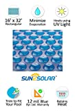 Sun2Solar Blue 16-Foot-by-32-Foot Rectangle Solar Heating Swimming Pool Cover Blanket - 12 Mil