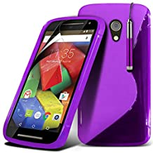 ONX3® ( Purple ) Motorola Moto G 4G (2015) 2nd generation Case Custom Made S Line Wave Gel Case Skin Cover With LCD Screen Protector Guard, Polishing Cloth & Mini Retractable Stylus Pen