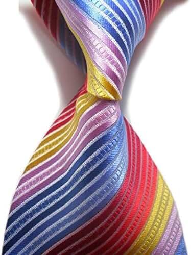 Mens Classic Necktie Black Gold Blue Striped Ties Mens Plaid Formal Tie