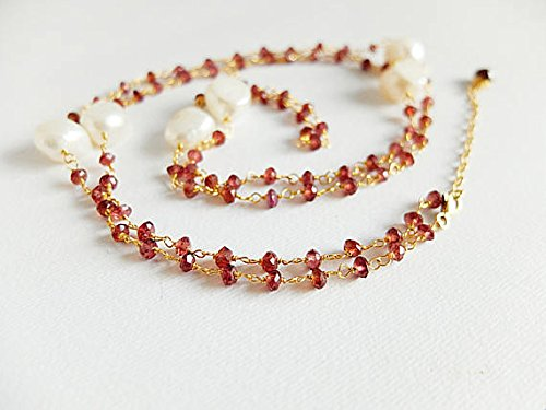 Rhodolite garnet,freshwater baroque pearls,long necklace,gold filled Rosary style Garnet necklace,long Garnet beaded necklace,Garnet pearls 3-4 mm - Genuine Baroque Pearl Bracelet