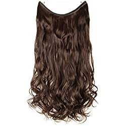 "Hair Extensions 24"" 125G Invisible Wire No Clips in Full Head Hair Extension Secret Rubber Band Hairpieces Real Natural Human Made Synthetic Hair for Women medium brown(curly)"