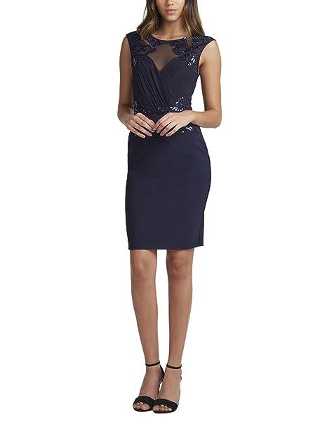 Lipsy Mujer Vestido Azul Marino, Ajustado Y Fruncido Con Detalle De Lentejuelas Loves Michelle Keegan