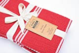 DAILY HOME ESSENTIALS 100% Cotton Terry Chef Kitchen Towels, Large Tea Towel, Absorbent Cafe, Bar & Restaurant Dish Rag. (4 Pack - Red)