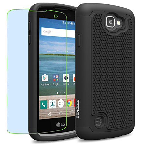LG Optimus Zone 3 / K4 / Spree Case, INNOVAA Smart Grid Defender Armor Case W/ Free Screen Protector & Touch Screen Stylus Pen - Black (Lg Optimus Otterbox compare prices)