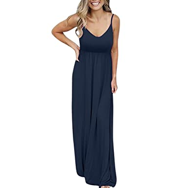 48b8cc1ccb Robes Élégant ADESHOP Mode FéMinine Sexy sans Manches Couleur Unie Maxi  Causal Vacances Beach Party Robe