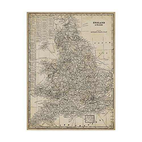 (Trademark Fine Art WAG00404-C2432GG Antique Map of England by Vision Studio, 24x32-Inch 24x32 Multicolor)