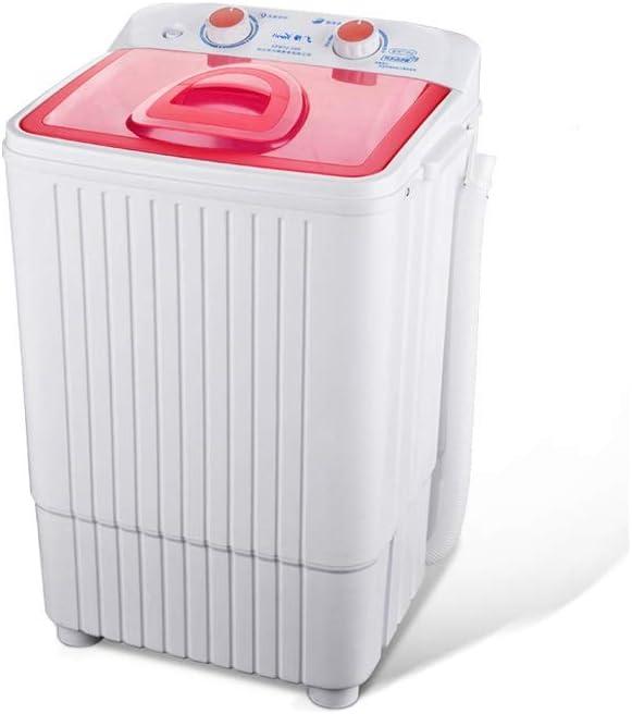 RMXMY Solo cañón semiautomático Pequeño Mini Lavadora Inicio Dormitorio con deshidratación seco 2-en-1 portátil de 4,5 kg de Lavado 2 kg Capacidad de Secado (Color: Rojo)