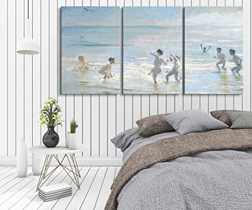 3 Panel World Famous Painting Reproduction Boys Bathing on a Summer Evening at Skagen Beach by Peder Severin Kroyer x 3 Panels