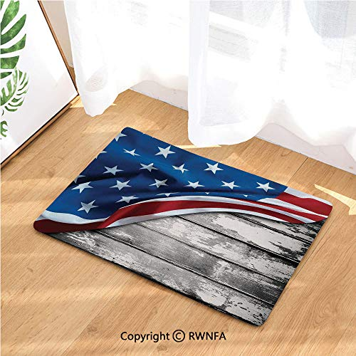 - Kitchen Door Mat Close Up Flag Over Antique Rustic Rippled Board Federal Country (19.7 in X 31.5 in) Fabric Top with a Anti-Slip Rubber Back for The Entrance Way Indoor Rug,Grey Navy