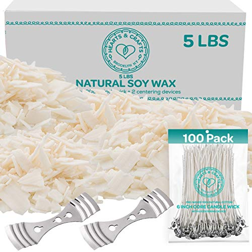 Hearts and Crafts Soy Candle Wax and Wicks for Candle Making, All-Natural - 5lb Bag with 100ct 6