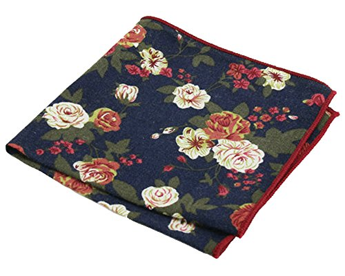 Flairs New York Floral Collection Pocket Square (Midnight Blue / Rose Garden) ()