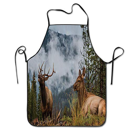PoppyAnthony Wild Elk in The Rocky Mountains in Fog Cooking Apron Personalized Chef Apron for Women Men Kitchen Bib Apron -