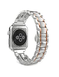 Padgene Apple Watch Band 38mm,iWatch Strap Stainess Steel with Classic Buckle Replacment Bracelet (Silver-Rose Gold)