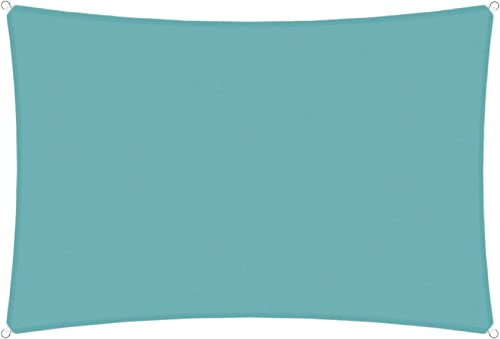 TANG Sunshades Depot Turquoise Waterproof 260 GSM Custom Sized 17'x22' Ft Curved Edge Sides Sun Shade Sail Terylene Woven Polyester Anti-Rust D-Ring