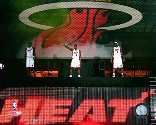 NBA LeBron James, Dwyane Wade, Chris Bosh Miami Heat Welcome Party Photo (Size: 8