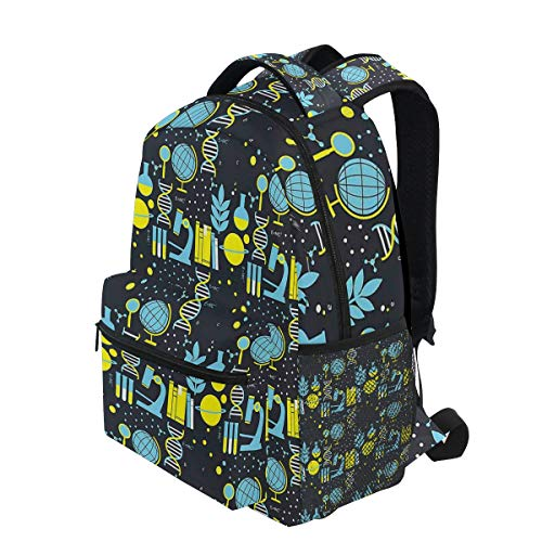 (KVMV Science Class Themed Biology Chemistry and Physics Protons Neutrons Lightweight School Backpack Students College Bag Travel Hiking Camping Bags)
