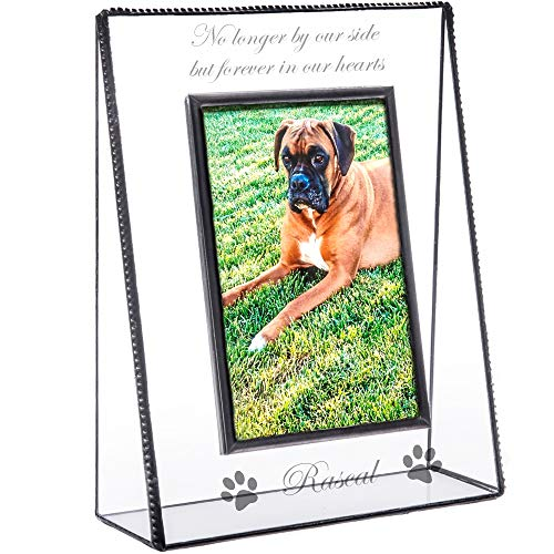 - J Devlin Pic 319-46V EP534 Personalized Memorial Pet Picture Frame Engraved Glass Tabletop 4 x 6 Photo Frame Dog Cat