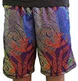Wreckless Lacrosse Youth LAX Moisture Wicking Shorts - Purple Fingerprint (Small)
