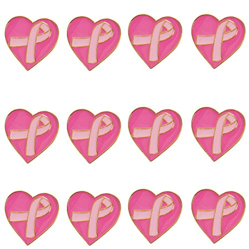 Breast Cancer Awareness Heart - Pink Ribbon Breast Cancer Awareness Heart Pins - 12 Pieces