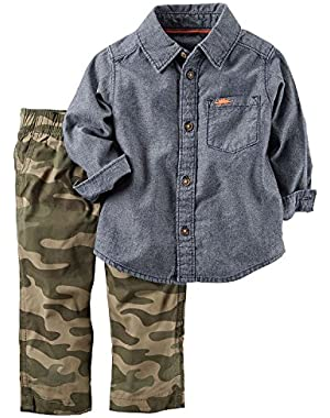 Carter's Boys Baby 2 Piece Playwear Pant Set Denim Camo