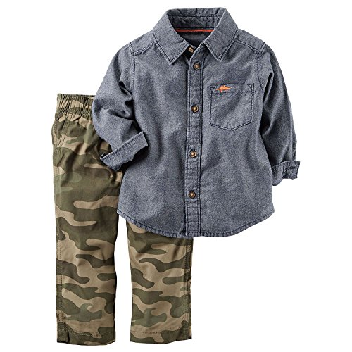 Carter's Boys Baby 2 Piece Playwear Pant Set Denim Camo 18 - Camo Denim