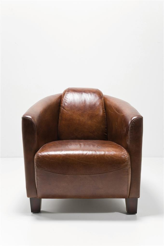 KARE Designer Sessel Cigar Lounge Rindsleder braun